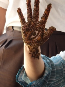Photograph hand with henna patterns
