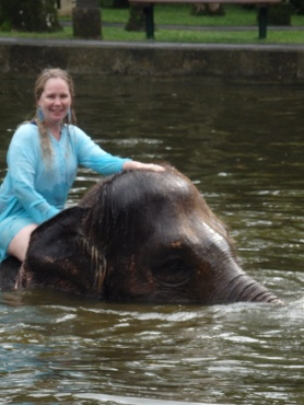 Maria Shaw sitting on elephant swimming in water